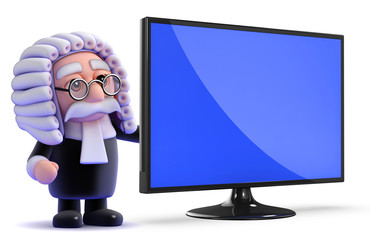 Judge stands next to a huge widescreen tv