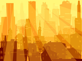Abstract illustration of big city and rays of light.