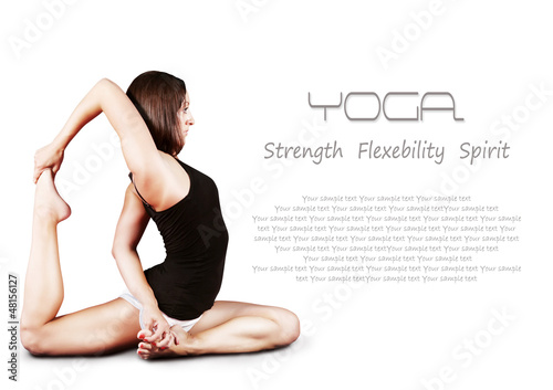 Yoga background with girl