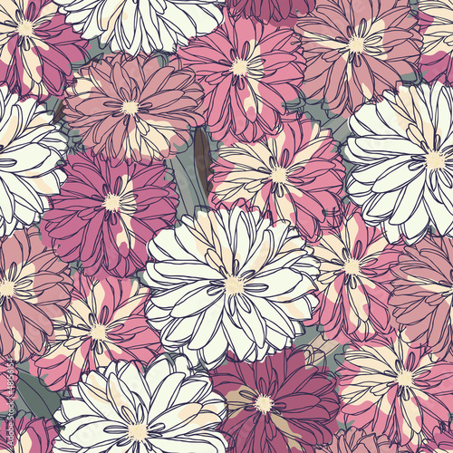 Tuinposter Abstract bloemen Floral seamless pattern. Bouquet of roses
