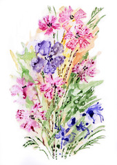Watercolor painting bouquet of wildflowers