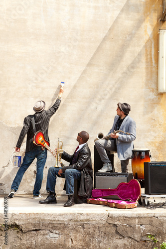 blues band in exterior