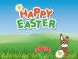Happy Easter card with a Easter bunnie