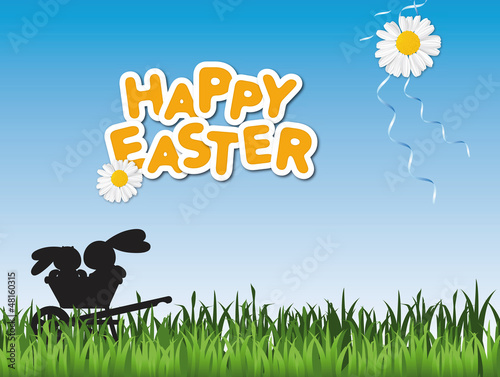 Happy Easter card with two Easter bunnies in a wheelbarrow