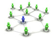 3d green social network people with blue intruder