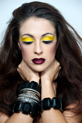 Beautiful woman with a bright make up. Fashion photo.Woman with