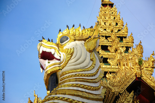 Singha is white lion guardians in temple,Myanmar.