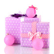 Colorful purple in peas gifts with pink Christmas balls