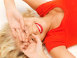 lying pensive beautiful woman with closed eyes
