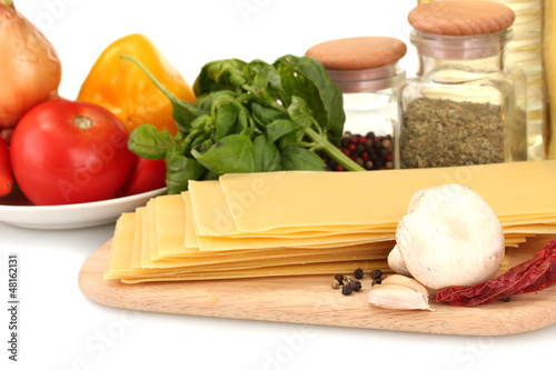 Vegetarian lasagna ingredients isolated on white