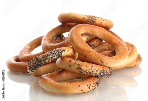 tasty bagels, isolated on white