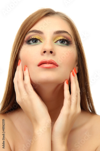 portrait of sexy young woman with glamour make up and orange