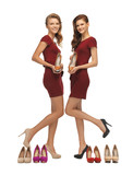 two lovely teenage girls in red dresses with shoes