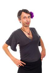 Funny transvestite portrait