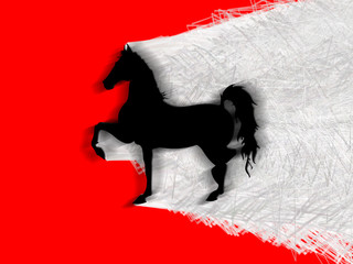 Cavallo nero, felino, potenza, sfondo rosso