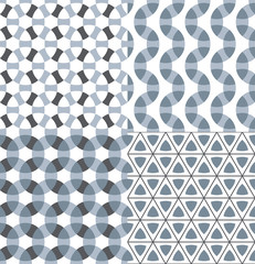 Geometric modular seamless patterns set.