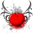 red heart on black pattern