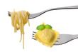 spaghetti and ravioli on forks white background