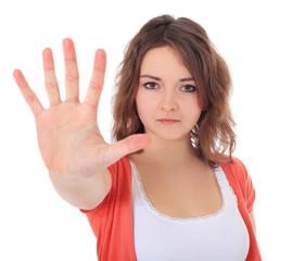 Attraktives Mädchen mit abwehrender Gestik