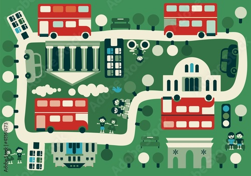 Foto Spatwand Op straat cartoon map of London with double decker