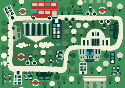Foto op Canvas Op straat cartoon map of London