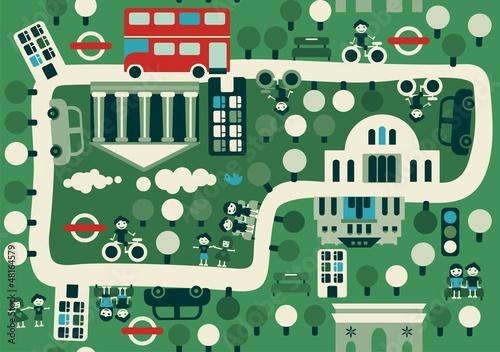 cartoon map of London - 48164579