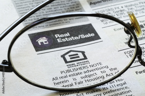 Classifieds advertisement concept of real estate sales