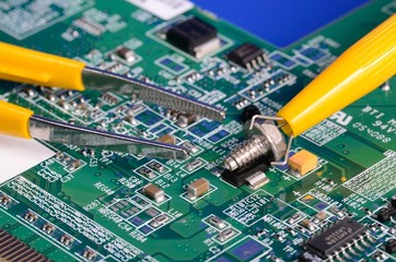 Computer parts and repair tools concept of troubleshooting