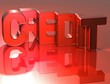 3D Word Credit on red background