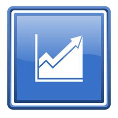 histogram blue glossy square web icon isolated