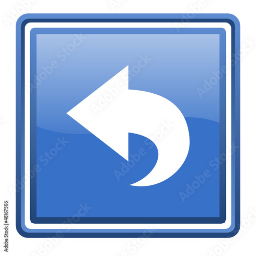 back blue glossy square web icon isolated