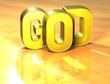 3D Word God on yellow background