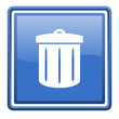 recycle blue glossy square web icon isolated