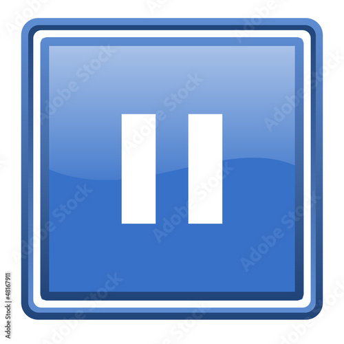 pause blue glossy square web icon isolated