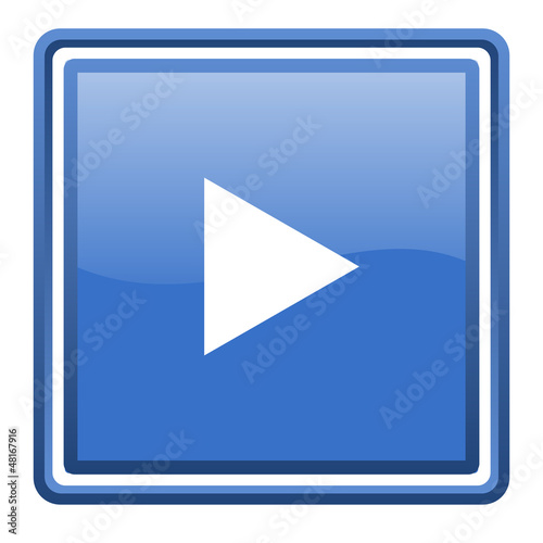 play blue glossy square web icon isolated