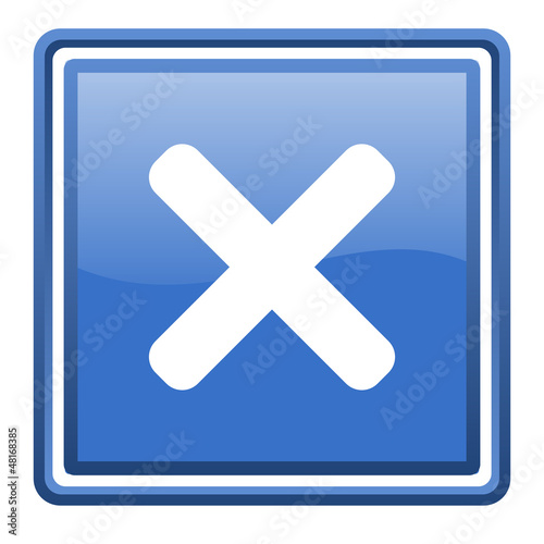 cancel blue glossy square web icon isolated