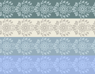 Four colore hand-drawn flower border