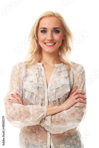 Young beautiful woman smiling over background