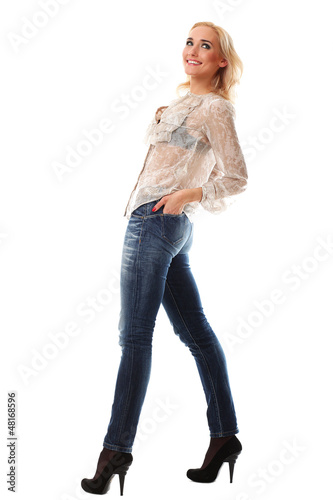 Full length portrait of a young caucasian woman