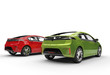 Green And Red Electric Cars