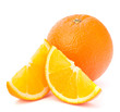 Whole orange fruit and his segments or cantles