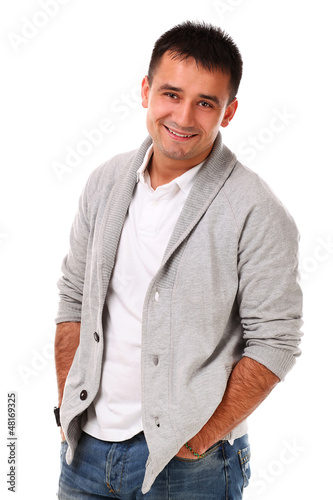 Young handsome man isolated over white background