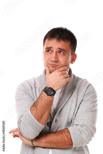 Sad handsome man isolated over white background