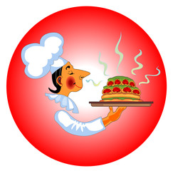 Vector icon with chef with fragrant dish in hand