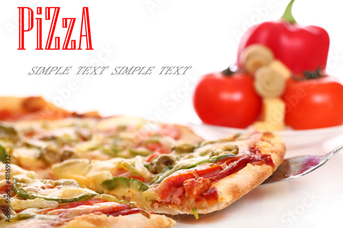 Image of fresh italian pizza and vegetables