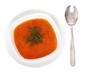 Image of bowl of hot red soup and spoon isolated