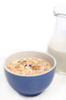 Image of bowl with healthy muesli on background