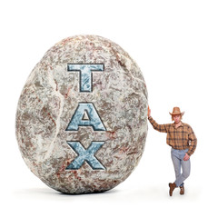 Young man holding giant boulder - symbol of high taxes.