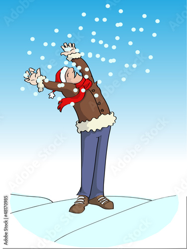 Happy cartoon man in the snowfall