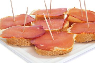 sandwiches with lomo embuchado, spanish cured pork sirloin